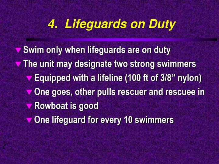 4.  Lifeguards on Duty