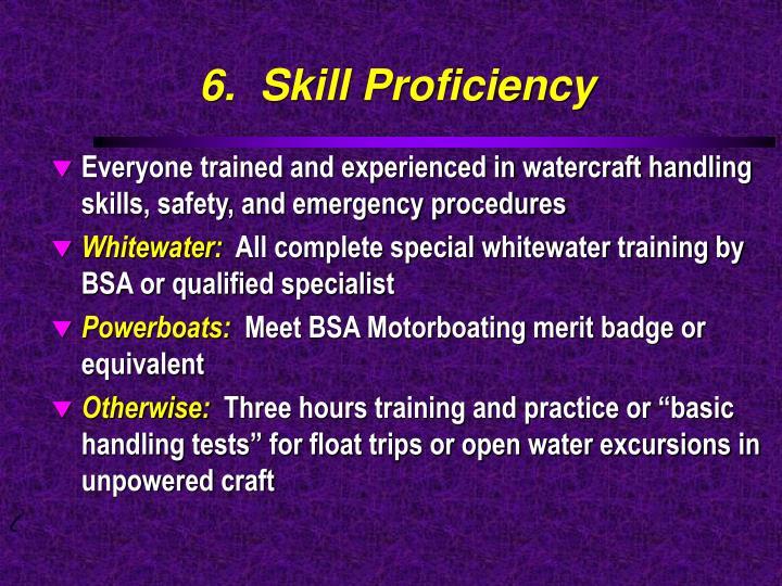 6.  Skill Proficiency