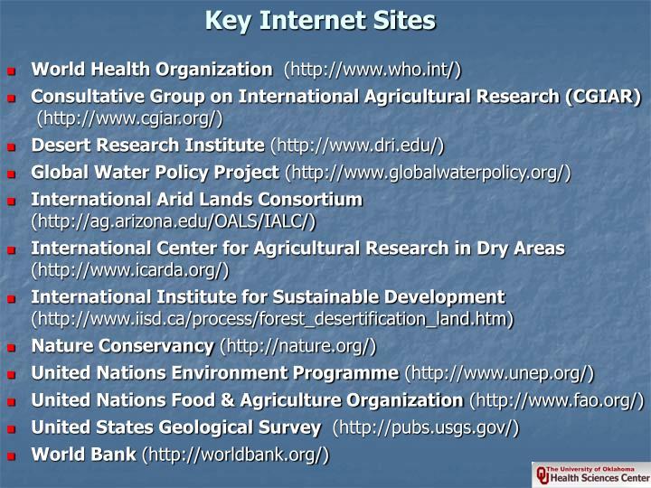 Key Internet Sites
