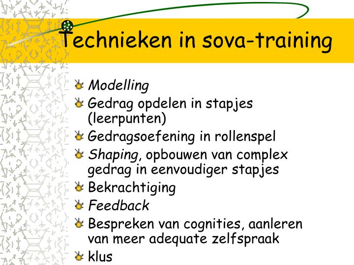 Technieken in sova-training