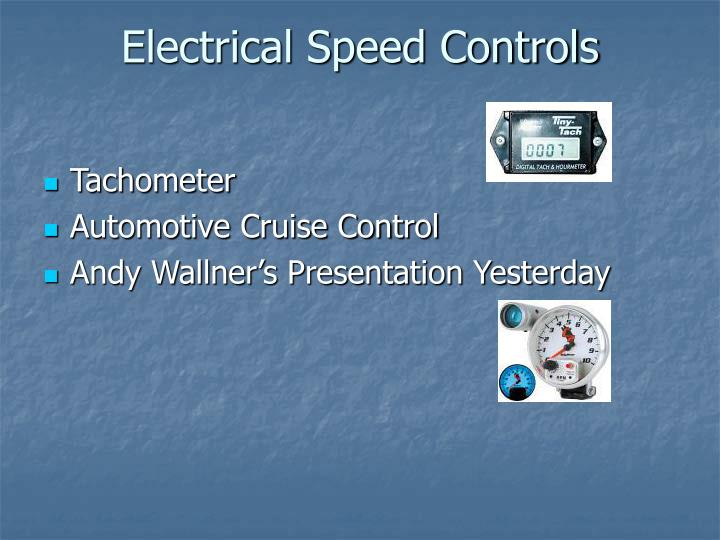 Electrical Speed Controls