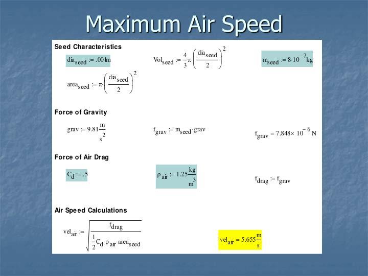 Maximum Air Speed