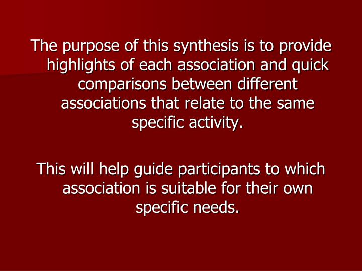 The purpose of this synthesis is to provide highlights of each association and quick comparisons between different associations that relate to the same specific activity.