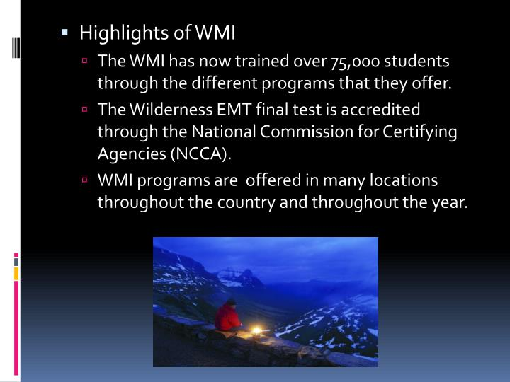 Highlights of WMI
