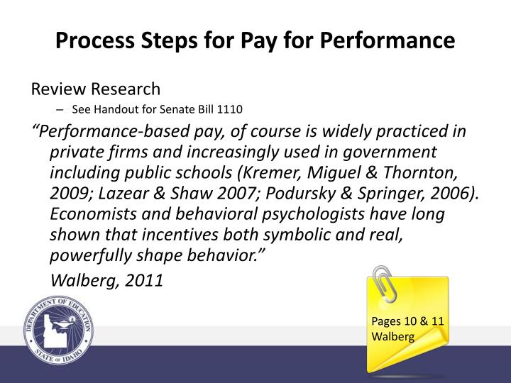 Process Steps for Pay for Performance