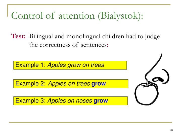 Control of attention (Bialystok):