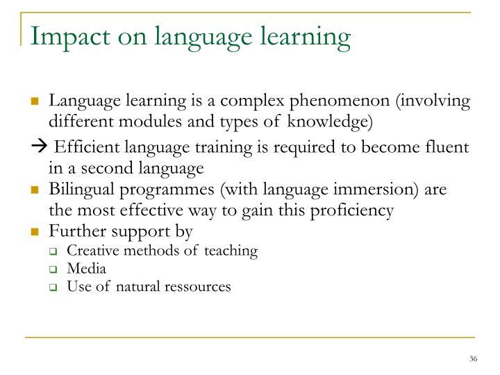 Impact on language learning