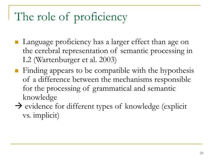 The role of proficiency