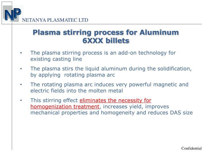 Plasma stirring process for Aluminum 6XXX billets
