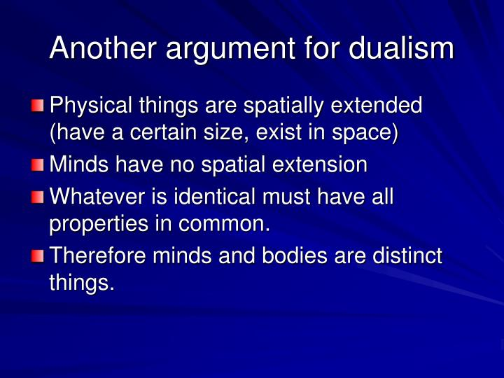 Another argument for dualism