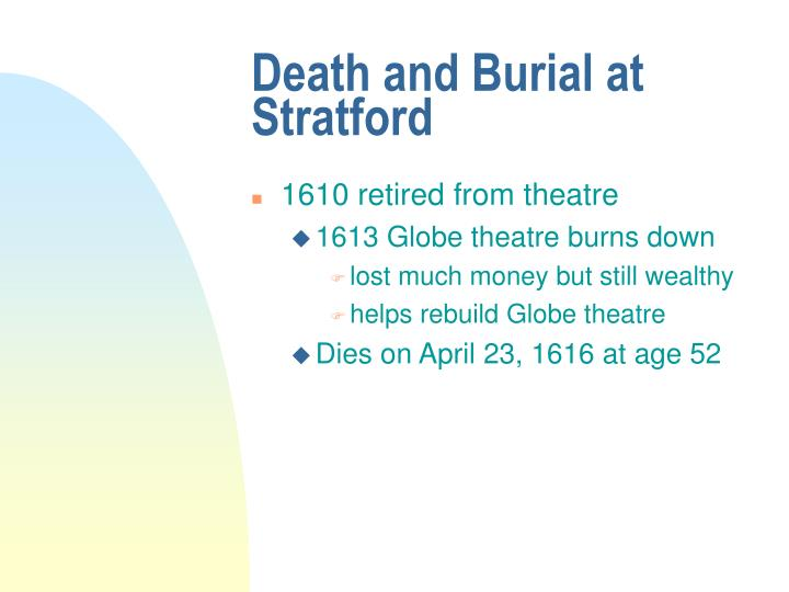 Death and Burial at Stratford