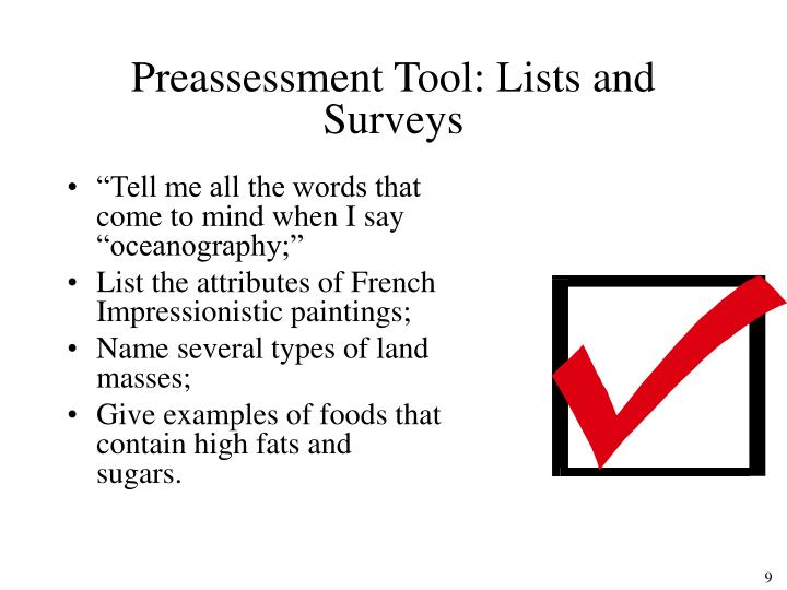 Preassessment Tool: Lists and Surveys