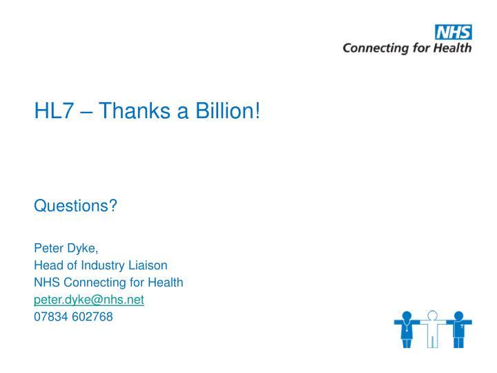 HL7 – Thanks a Billion!