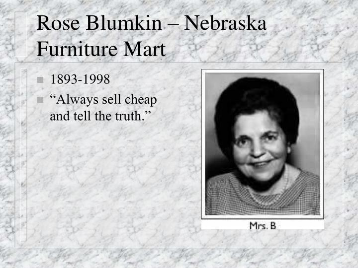 Rose Blumkin – Nebraska Furniture Mart