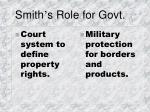 smith s role for govt