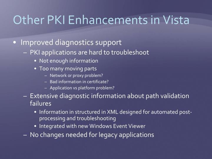 Other PKI Enhancements in Vista