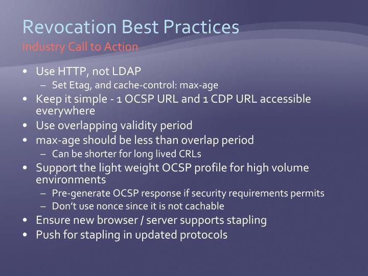 Revocation Best Practices