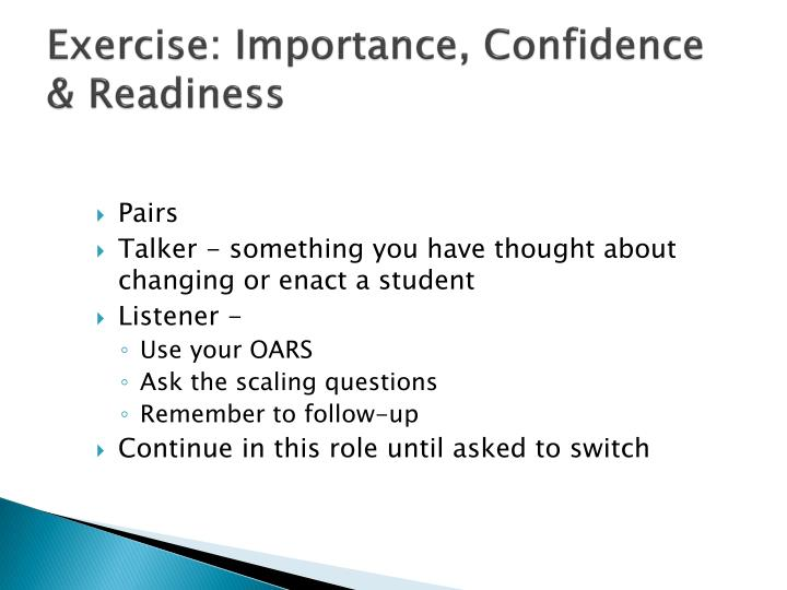 Exercise: Importance, Confidence & Readiness