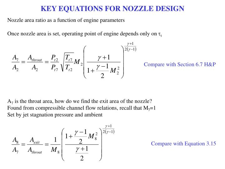 KEY EQUATIONS FOR NOZZLE DESIGN