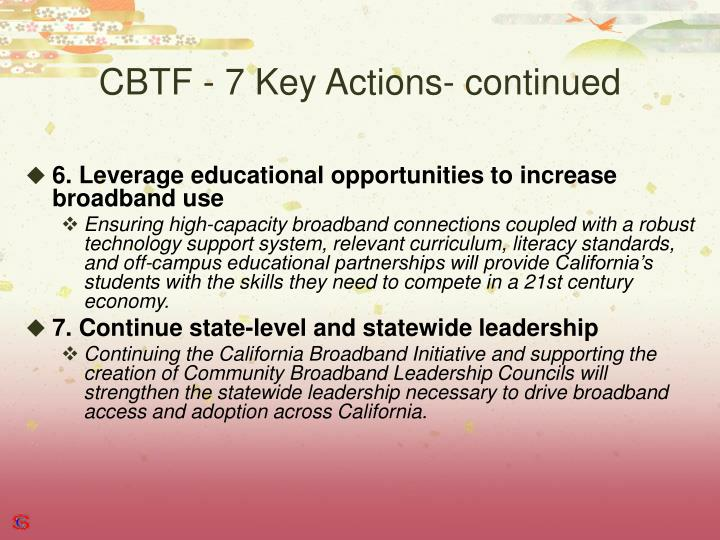 CBTF - 7 Key Actions- continued