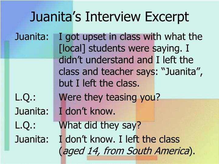 Juanita's Interview Excerpt