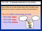 your task to develop characters in our writing