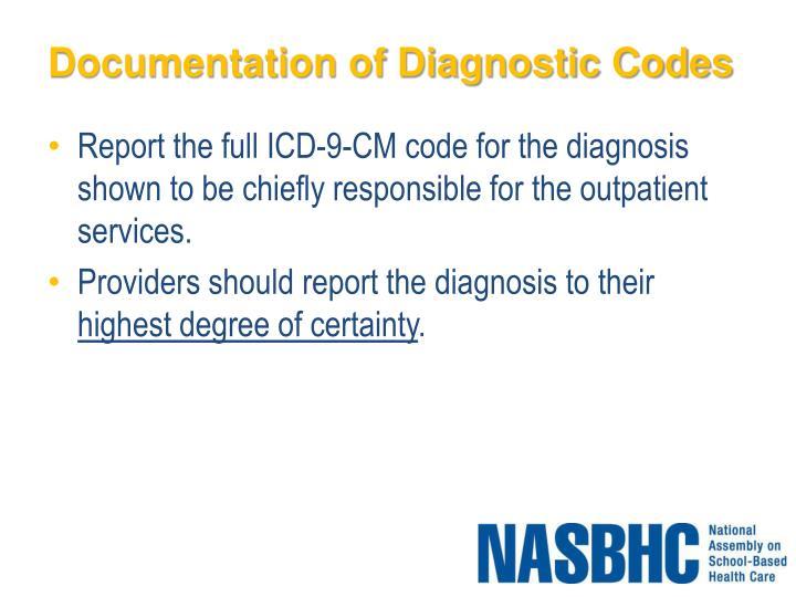 Documentation of Diagnostic Codes