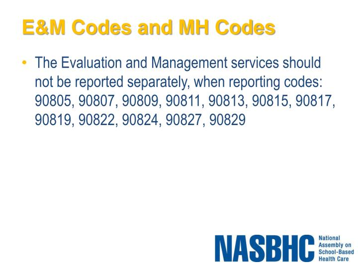 E&M Codes and MH Codes