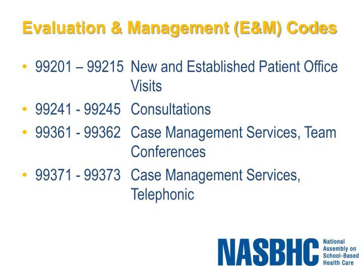 Evaluation & Management (E&M) Codes