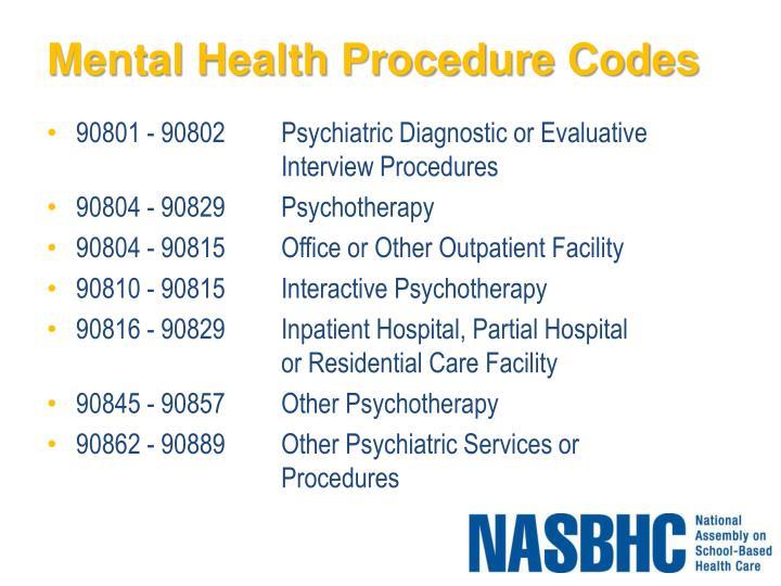 Mental Health Procedure Codes