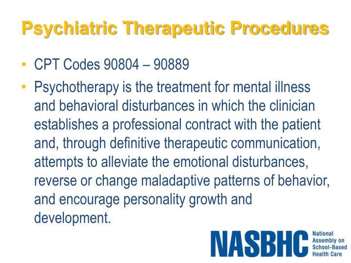 Psychiatric Therapeutic Procedures
