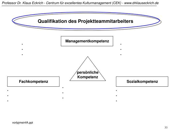 Qualifikation des Projektteammitarbeiters
