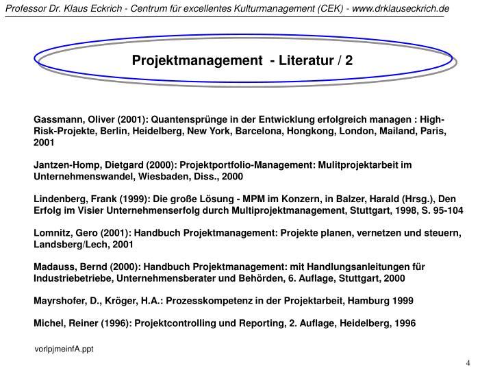 Projektmanagement  - Literatur / 2