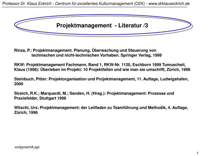 Projektmanagement  - Literatur /3