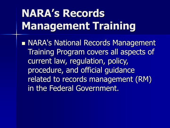 NARA's Records Management Training