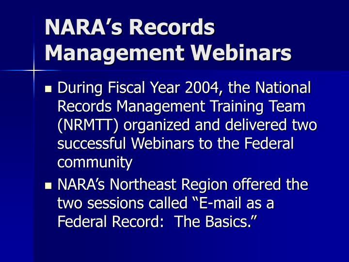 NARA's Records Management Webinars