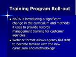 training program roll out