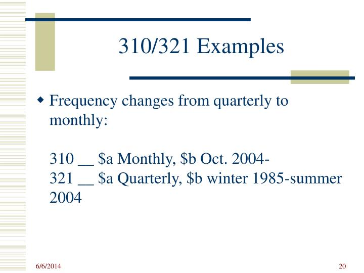 310/321 Examples
