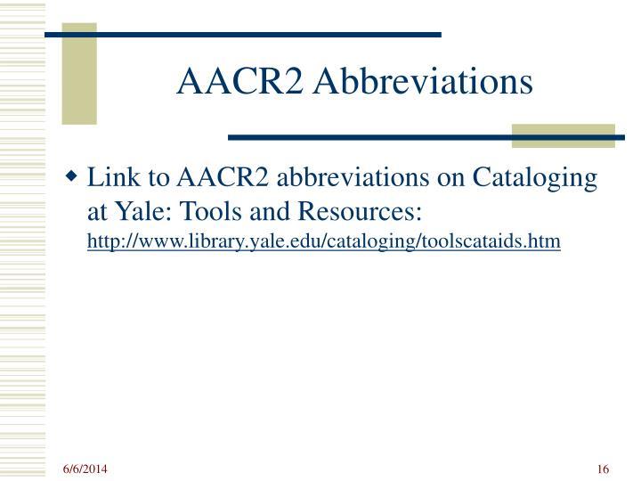AACR2 Abbreviations