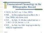 enumeration chronology in the bibliographic record