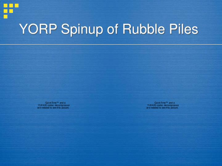 YORP Spinup of Rubble Piles