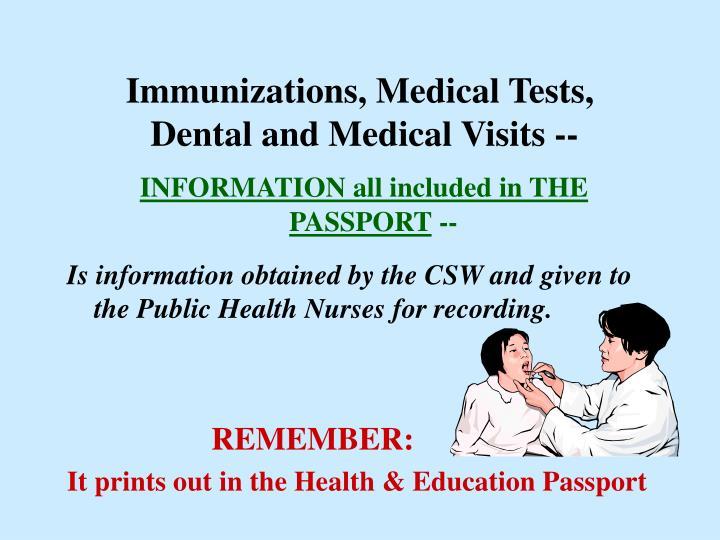 Immunizations, Medical Tests,