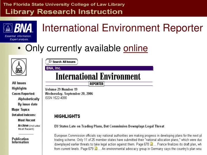 International Environment Reporter
