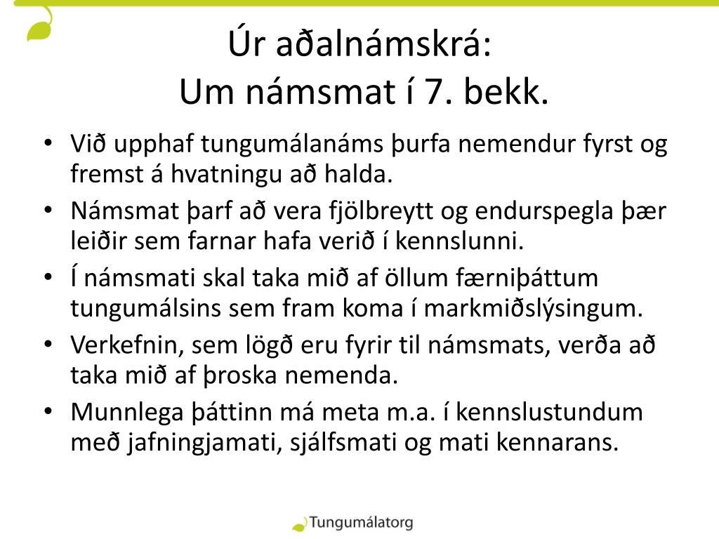 Úr aðalnámskrá: