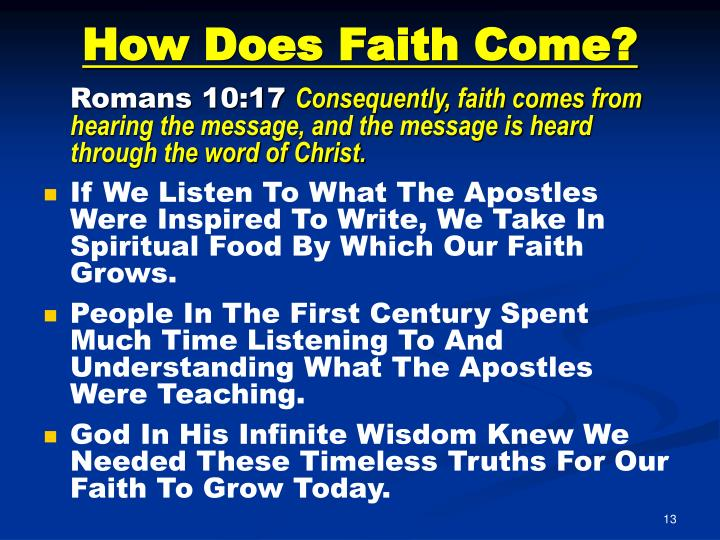 How Does Faith Come?