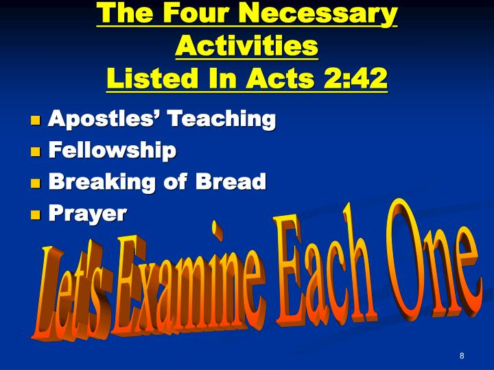 The Four Necessary Activities