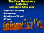 the four necessary activities listed in acts 2 42