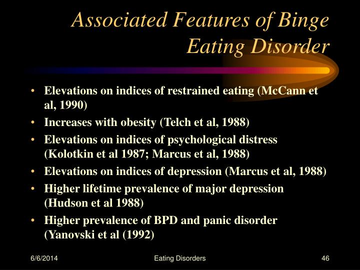 Associated Features of Binge Eating Disorder