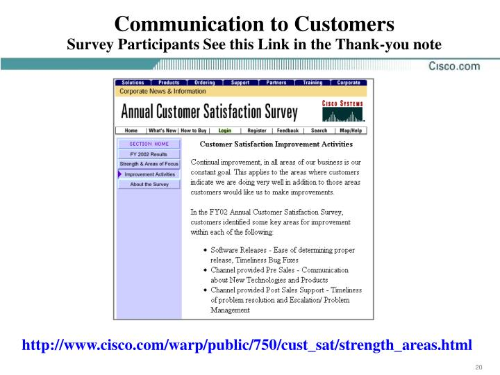 Communication to Customers
