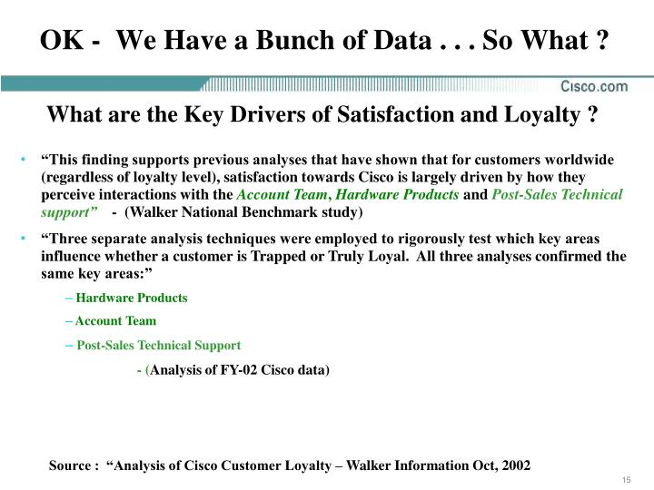 OK -  We Have a Bunch of Data . . . So What ?